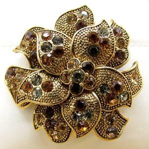 Vintage Liz Claiborne Multi Stone Brooch